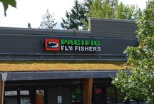 Pacific Fly Fishers Storefront / Pacific Fly Fishers store photos.  Fly Fishing pro shop and online catalog.  Located in Mill Creek, Washington between Seattle and Everett, WA.