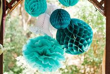 Teal party decorating