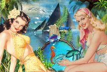 Filles à la mer / Gif