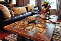 Sofabord av gamle dører