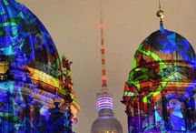 The Berlin Cathedral illuminated during the Festival of Lights in Berlin, Germany #HeathrowGatwickCars.com