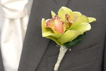 Greens / A selection of wedding flowers and accessories in green.