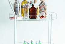 At Home Bar / Use your liquor cabinet as decor with a fab bar car and fun styling