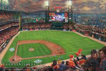 Baseball Art / Art by Thomas Kinkade and the Thomas Kinkade Studios featuring some of America's favorite baseball teams and their iconic stadiums.