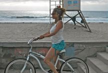 Mia Luna Blue Ocean inspiration / bamboo viscose tank and shorts for every activity, yoga and biking on the boardwalk