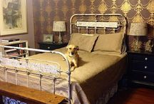 """Queen Mattresses On Antique Double Frames / It has become a rather common practice to use an antique double, the largest size made back in the 1800's, to accommodate a modern queen size mattress. This is done by simply lengthening the angle iron side-rails, by approximately 5"""" to 6"""" inches. The width difference is negligible, and doesn't need to be adjusted for. As you can see from these photo's. / by Antique Iron Beds by Cathouse Beds"""