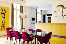 Dinning room / Dinning room table ideas - round or square tables. Colours, rugs and textures