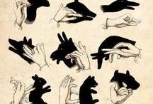 tiene vytvorené z prstov