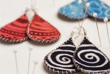 fabric& leather earrings