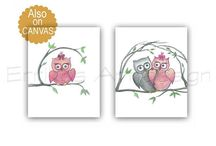 Owls Nursery, Baby Nursery Art / Baby Nursery Art Check out my shop: http://www.etsy.com/shop/handpainting?ref=si_shop