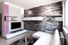 Návrh interiéru bytu 3+kk / Moderní design obývacího pokoje a kuchyňského koutu s jídelním prostorem