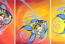 Three Fish, Four fish, More Fish!! / Original art by J Vincent Scarpace. This gallery features works that have 2 or more canvases. Great in a business office, the mantle, or in a bedroom.