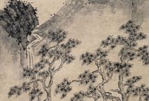 Landscape painting in B & W - 山水畵 - 산수화