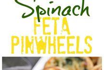 Spinach feta wheels