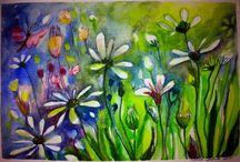 Ulla Dufva's paintings / Kesäkukkia. Summer flower. Akvarell painting/2015