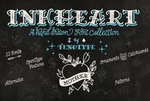 Inkheart / Inkheart is a suite of 22 hand-drawn, tattoo lettering-inspired faces from Fenotype Fonts, now on sale at 80% off:
