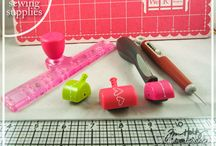 Sewing on cards and ribbon