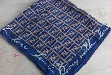 Fendi Black Brown Monogram Pattern Cotton Handkerchief