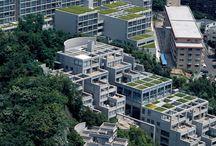 Tadao Ando / De Japanse architect Tadao Ando is geboren in Osaka in 1941 en staat bekend om zijn gebruik van licht en schaduw. Hij heeft veel belangrijke architectuurprijzen gewonnen, terwijl hij geen architectonische opleiding heeft gevolgd.  ik heb op dit bord 5 van zijn werken uitgelicht en dat zijn de volgende werken: • 21_21 DESIGN SIGHT • Punta della Dogana Renovation • Rokko Housing One • Westin Awaji Island hotel • Hyogo prefectural museum of art