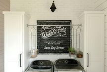 Laundry  Ideas and Inspiration / I hate laundry! Maybe prettying up our fixer upper's small laundry with some modern farmhouse style will take the edge off. Here's my inspiration for decor and organization.