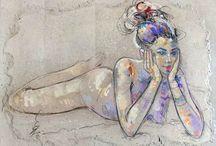 Peintures de: Raluca Vulcan ...pure  beauté :.. / Une  liberté en commençant une carrière d'artiste peintre. Raluca s'est alors orientée vers le nu et le portrait, en quête d'une expression de la vie, du mouvement, d'un corps ou d'un visage. A l'aise dans la spontanéité du geste, de l'expression du corps, elle exécute en menant simultanément, devant son modèle, le dessin à la pierre noire, à la sanguine ou au pastel sec, et à la peinture à l'acrylique. Au final : une sensualité poétique résumée en une formule : « des femmes fleuries ».
