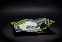 Green strip bowl, קערת פסים ירוקה / Fusing, Spectrum glass, w 35.cm l 35 cm d 1.5 cm קערת פסים ירוקה