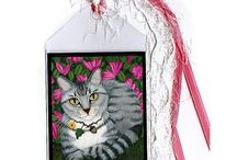 "Fantasy Cat Bookmarks by Tigerpixie on Etsy / Colorful Fantasy Cat Bookmarks with ribbon tassels. Purrrfect Gifts for You & the Cat Lovers in your life. All bookmarkers are created by me the artist, Carrie Hawks ""Tigerpixie"". Available in my Etsy Shop https://www.etsy.com/shop/tigerpixie"