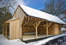 Chester County Carriage Shed / Timber framed carriage shed crafted from locally sourced Oak with tongue and groove roof decking.  This carriage shed not only serves as a garage but also has a place for firewood storage.