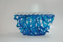 Coral Menorah, חנוכיה אלמוג / Spectrum glass,  l 32cm h 32 d 5 A variety of transparent and opaque color blue, green' yellow purple white, מבחר צבעים