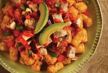 "Totchos Recipes / You may be wondering, ""what are Totchos?"" They're deliciously crisp ORE-IDA TATER TOTS dressed like nachos with toppings ranging from gooey cheese, ground beef, and sour cream to salsa, olives, and jalapeños. / by Kraft Recipes"