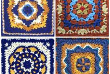 Talavera Tiles by Julie Yeager / Crochet Afghan Blocks by Julie Yeager in the style of Talavera Tiles