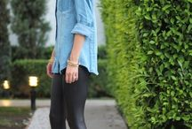 Leather and denim outfits