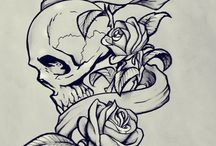 skull/rose & other tattoo's