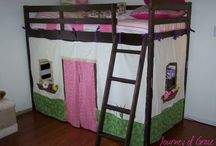 girls bed with curtains