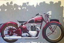 """triumph """"MY SPEEDTWIN"""" / MOTO/TRIUMPH 5T SPEEDTWIN 1938/ Huile sur toile 200x100"""