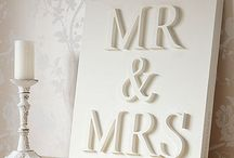 wooden letting on canvas and painted - Mr and mrs