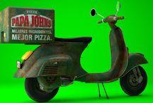 motonetas repartidoras de pizza antiguas / diseño 3d sobre motos pizzeras de marcas conocidas de pizzas