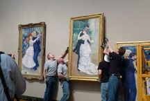"""Dancing with Renoir: Behind-the-Scenes Photos / Let the dancing begin! Two monumental loans from the Musée d'Orsay, Paris, join the MFA's own iconic Renoir, """"Dance at Bougival"""" for our Visiting Masterpieces series. Come see this """" superbly stylish trilogy of full-length paintings"""" (The New York Times.) Here's a behind-the-scenes look at the installation. http://www.mfa.org/exhibitions/dancing-renoir"""