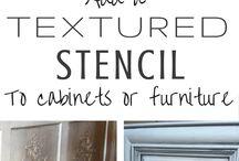 Textured stencil to furniture