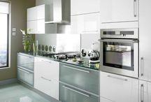 white narrow kitchen