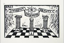 Masonic Art (B&W - 3 Pillars) / Masonic Artworks (B&W Graphics - Three Pillars)
