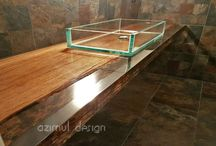 wood and resin bathroom top