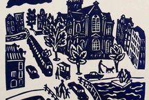 Amsterdam - Eddy Varekamp / Linocut and Stencilprints Amsterdam themed