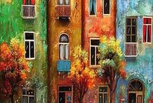 painting. city scapes