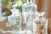 Antique bottles and glass