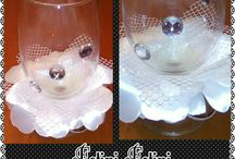 wedding champagne glasses with kanzashi by Fotini Fotini Mazaraki
