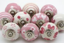 Pretty Pinks  unique to These Please / A beautiful set of pink doorknobs all different designs and all designed in house.  Hope you like them.