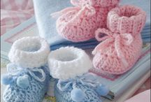 Crocheted slipers, booties, ...