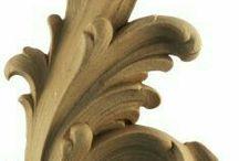 Faragványok, fából, vagy gipsz öntvények / díszítő elemek fafaragás, gipszöntvény