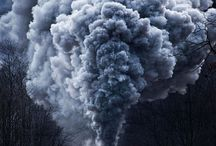 Train smoke into the air